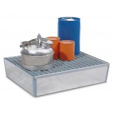 Auffangwanne Basis K aus Stahl, verzinkt, mit Gitterrost, für 2 Fässer à 60 Liter