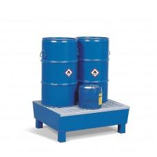 Auffangwanne Basis K aus Stahl, lackiert, mit Sockelfüßen und Gitterrost, für 2 Fässer à 60 Liter