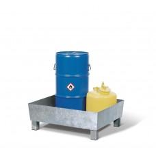 Auffangwanne Basis K aus Stahl, verzinkt, mit Sockelfüßen, ohne Gitterrost, für 1 Fass à 60 Liter