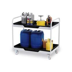 Fahrbarer Arbeitstisch mit 2 Auffangwannen aus Polyethylen (PE), Auffangvolumen 2 x 30 Liter kaufen