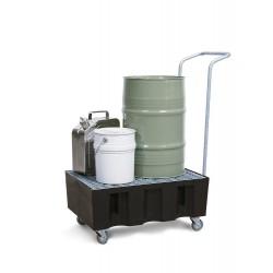 Fahrbare Auffangwanne PolySafe Euro R-60 aus PE, verzinkter Gitterrost, für 2 Fässer à 60 l kaufen