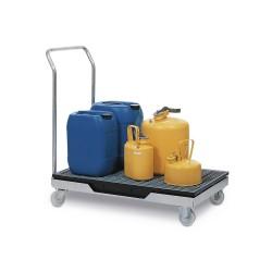 Transportwagen mit Auffangwanne, Schiebebügel und Gitterrost aus Polyethylen (PE) kaufen