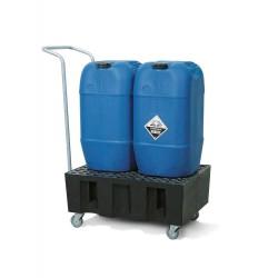 Fahrbare Auffangwanne PolySafe Euro R-60 aus PE, PE-Gitterrost, für 2 Fässer à 60 l kaufen