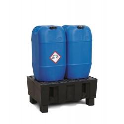 Auffangwanne PolySafe Euro F-60 aus PE, mit Sockelfüßen, PE-Gitterrost, für 2 Fässer à 60 l kaufen