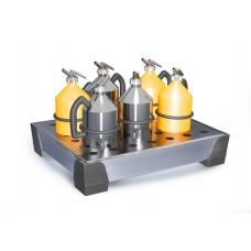 Kleingebindewanne WP 5, Edelstahl, mit Edelstahl-Lochblech, Auffangvolumen 5 Liter