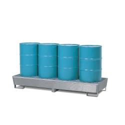 Auffangwanne Basis BE-V50 aus Stahl, verzinkt, mit Gabeltaschen und Gitterrost, für 4 Fässer à 200 l kaufen