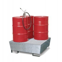 Auffangwanne Basis C V50 aus Stahl, verzinkt, mit Gabeltaschen und Gitterrost, für 4 Fässer à 200 l kaufen