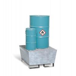 Auffangwanne Basis A aus Stahl, verzinkt, mit Gabeltaschen und Gitterrost, für 1 Fass à 200 Liter kaufen