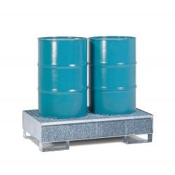 Auffangwanne 2P2-F aus Stahl, verzinkt, mit Gabeltaschen und Gitterrost, für 2 Fässer à 200 Liter kaufen