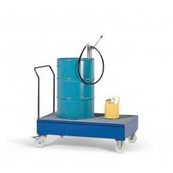 Fahrbare Auffangwanne FSR2 aus Stahl, lackiert, mit Gitterrost für 2 Fässer à 200 Liter kaufen