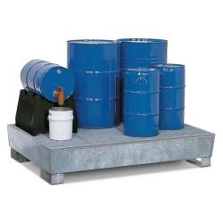 Auffangwanne PRW 43 aus Stahl, verzinkt, mit Gabeltaschen und Gitterrost, für 4 Fässer à 200 Liter kaufen