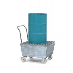 Fahrbare Auffangwanne FSR1 aus Stahl, verzinkt, mit Gitterrost, für 1 Fass à 200 Liter kaufen