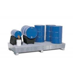 Auffangwanne PRW 65 aus Stahl, verzinkt, mit Gabeltaschen und Gitterrost, für 8 Fässer à 200 Liter kaufen