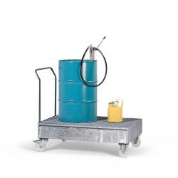 Fahrbare Auffangwanne FSR2 aus Stahl, verzinkt, mit Gitterrost, für 2 Fässer à 200 Liter kaufen