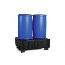 Auffangwanne PolySafe Euro F2 aus PE, mit Sockelfüßen und PE-Gitterrost, für 2 Fässer à 200 Liter