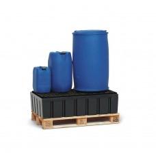 Auffangwanne PolySafe Euro W-200 aus PE, mit PE-Gitterrost, für 2 Fässer à 200 Liter