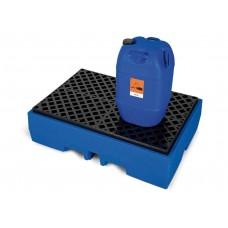Auffangwanne PolySafe ECO aus Polyethylen (PE), mit PE-Gitterrost, für 2 Fässer à 200 Liter