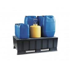 Auffangwanne PolySafe Euro K2 aus PE, mit Kufen und verzinktem Gitterrost, für 2 Fässer à 200 Liter