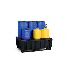 Auffangwanne PolySafe Euro K-200 aus PE, mit Kufen und PE-Gitterrost, für 2 Fässer à 200 l