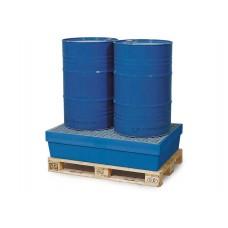 Auffangwanne PolySafe PSW 2.2 aus Polyethylen, blau, verzinkter Gitterrost, für 2 Fässer à 200 l