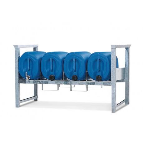 Stapelregal ARK 1 aus Stahl, verzinkt, für 3 x 30 oder 60 Liter Kanister, mit Führungsschienen