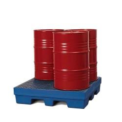 Auffangwanne PolySafe PSP 2.4 aus PE, blau, Gabeltaschen und PE-Gitterrost, für 4 Fässer à 200 l kaufen