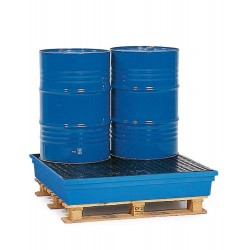 Auffangwanne PolySafe PSW 2.4 aus Polyethylen, blau, mit PE-Gitterrost, für 4 Fässer à 200 l kaufen