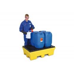 Auffangwanne PolySafe PSP 2.2 aus PE, gelb, Gabeltaschen und PE-Gitterrost, für 2 Fässer à 200 l kaufen