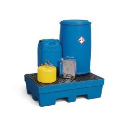 Auffangwanne PolySafe PSP 2.2 aus PE, blau, Gabeltaschen und PE-Gitterrost, für 2 Fässer à 200 l kaufen