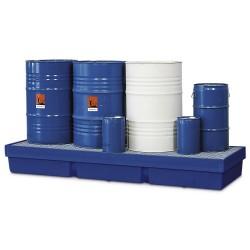 Auffangwanne PolySafe PSW 2.4-R aus PE, blau, mit verzinktem Gitterrost, für 4 Fässer à 200 Liter kaufen