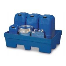 Auffangwanne PolySafe PSP 2.2 aus PE, blau, Gabeltaschen, ohne Gitterrost, für 1 Fass à 200 Liter