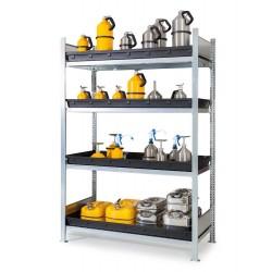Gefahrstoffregal GKW 1360 für aggressive Chemikalien, 4 PE-Wannen, 1360 x 640 x 2000 mm, Grundfeld kaufen