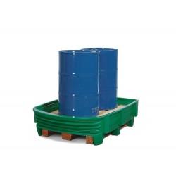 Sicherheitswanne SW aus Polyethylen (PE) mit flexibler Frontseite, für 2 Fässer à 200 Liter, grün kaufen