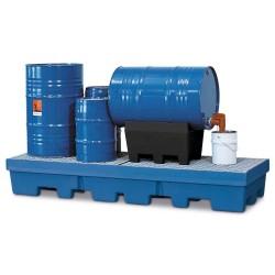 Auffangwanne PolySafe PSP 2.4-R aus PE, blau, Gabeltaschen, verz. Gitterrost, für 4 Fässer à 200 l kaufen