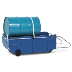 Fasskarre und Auffangwanne FSK-Poly aus Polyethylen, blau, mit Griff und Zurrgurt, für 200-l-Fässer kaufen