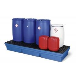 Auffangwanne PolySafe PSW 2.4-R aus Polyethylen, blau, mit PE-Gitterrost, für 4 Fässer à 200 Liter kaufen