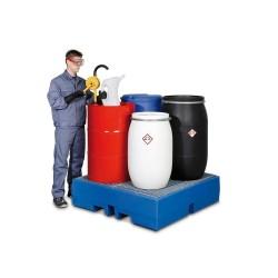 Auffangwanne PolySafe ECO aus Polyethylen (PE), mit verzinktem Gitterrost, für 4 Fässer à 200 Liter kaufen