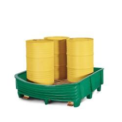 Sicherheitswanne SW aus Polyethylen (PE) mit flexibler Frontseite, für 4 Fässer à 200 Liter, grün kaufen
