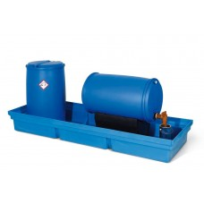 Auffangwanne PolySafe PSW 2.4-R aus Polyethylen, blau, ohne Gitterrost, für 4 Fässer à 200 l