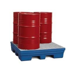 Auffangwanne PolySafe PSP 2.4 aus PE, blau, Gabeltaschen, verzinkter Gitterrost, f. 4 Fässer à 200 l kaufen