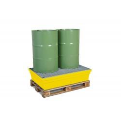 Auffangwanne PolySafe PSW 2.2 aus Polyethylen, gelb, mit verzinktem Gitterrost, für 2 Fässer à 200 l kaufen