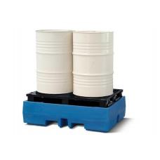 Auffangwanne PolySafe ECO aus Polyethylen (PE), mit PE-Palette, für 2 Fässer à 200 Liter