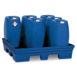 Auffangwanne PolySafe PSP 2.4 aus PE, blau, Gabeltaschen, ohne Gitterrost, für 2 Fässer à 200 Liter kaufen