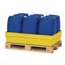 Auffangwanne PolySafe PSW 2.2 aus Polyethylen, gelb, ohne Gitterrost, für 1 Fass à 200 Liter
