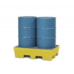 Auffangwanne PolySafe PSP 2.2 aus PE, gelb, Gabeltaschen, verzinkter Gitterrost, f. 2 Fässer à 200 l kaufen