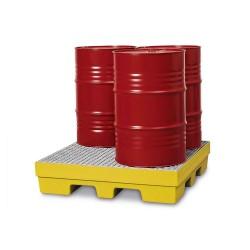 Auffangwanne PolySafe PSP 2.4 aus PE, gelb, Gabeltaschen, verzinkter Gitterrost, f. 4 Fässer à 200 l kaufen