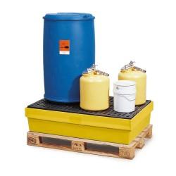 Auffangwanne PolySafe PSW 2.2 aus Polyethylen, gelb, mit PE-Gitterrost, für 2 Fässer à 200 l kaufen