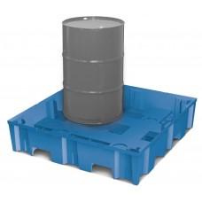 Kunststoff-Auffangwanne PolySafe Euroline Typ F4-200 W für 3 Fässer, ohne Gitterrost