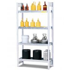 Gefahrstoffregal GRW 1040 wassergefährdende Stoffe, 4 Stahlwannen, 1060 x 440 x 2000 mm, Grundfeld