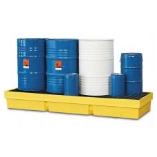 Auffangwanne PolySafe PSW 2.4-R aus PE, gelb, mit verzinktem Gitterrost, für 4 Fässer à 200 Liter